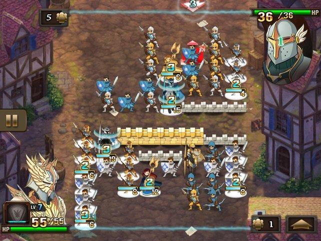 Kombiniert drei Helden, um einen Angriffstrupp zu bilden. Die blaue Zahl gibt an, wann sie attackieren.