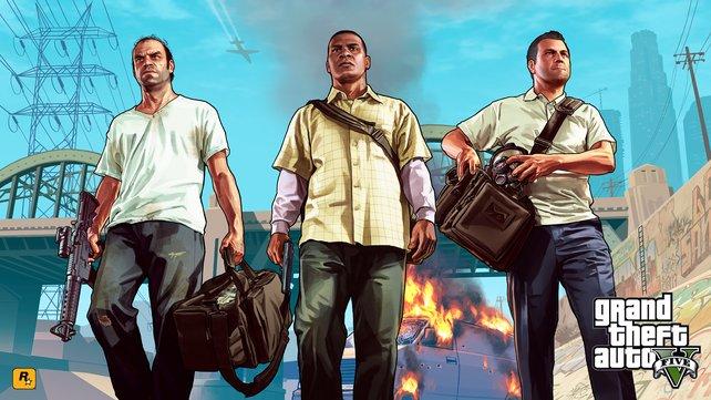 Trevor, Franklin und Michael, die Hauptfiguren in GTA 5.