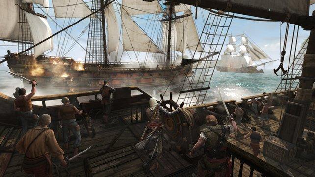 Seeschlachten sind zweigeteilt: erst aus der Entfernung das Schiff seeuntüchtig machen, dann den Enterbefehl ausgeben