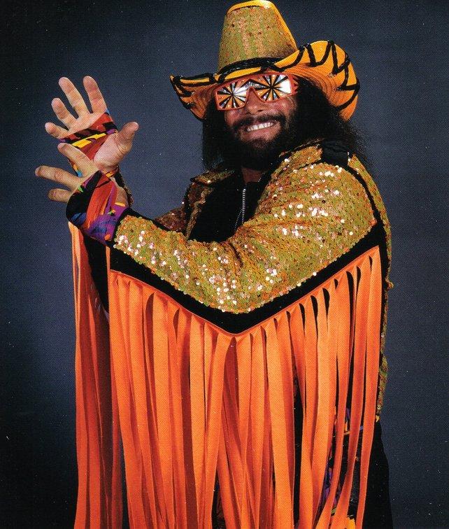 Der Macho Man Randy Savage ist eine Nummer für sich: ausgeflippt, farbenfroh und nicht zuletzt bärenstark.