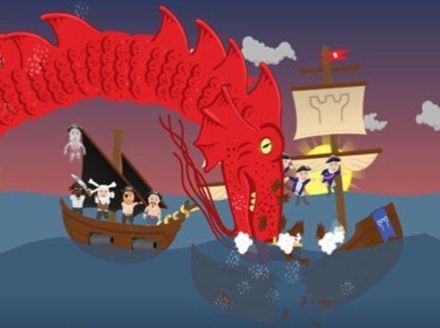 Sogar gegen Meeresungeheuer zieht euer Piratenschiff in den Kampf.