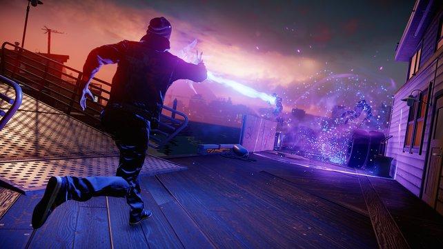 Eure Neon-Kräfte tauchen eure Umgebung kurzzeitig in ein grelles Licht. Die PS4 zeigt zu jeder Zeit, was sie grafisch alles darstellen kann.