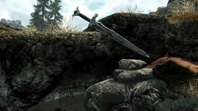 Das Schwert im Stein ist eine offensichtliche Anspielung auf die legendäre Klinge Excalibur.
