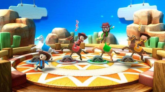 """Bei """"Fest im Sattel"""" sollt ihr die Bewegungen des Pferdes ausgleichen, indem ihr mit der Wii-Fernbedienung gegenlenkt."""