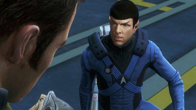 Die Originalsprecher sprechen Spock und Kirk.