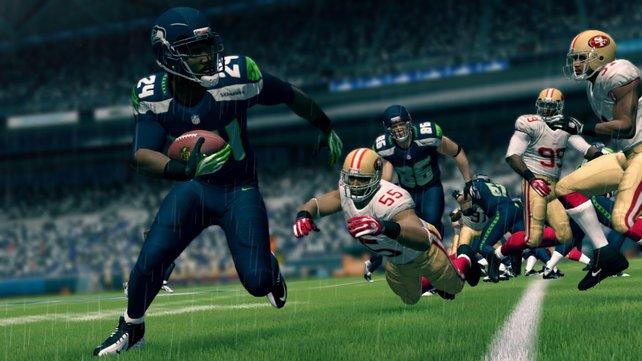 Optisch überzeugt das Spiel mit Details wie Trikotnähten, unterschiedlichen Helmstrukturen und buschigen Rasentexturen.