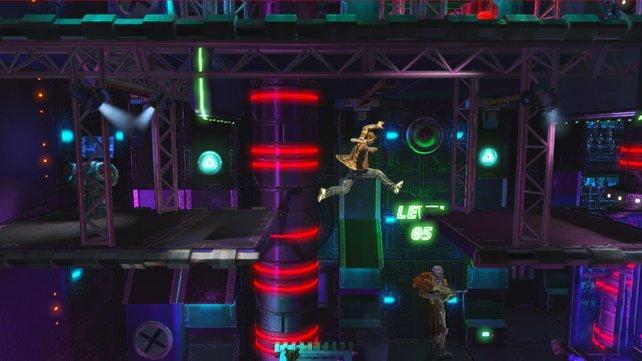 Ihr springt über Plattformen, erledigt Gegner und sucht den besten Weg durch einen Bereich.