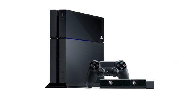 So sieht die PlayStation 4 aus, am auffälligsten sind die schrägen Vorder- und Rückseite.