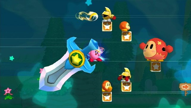 Multitalent-Kirby saugt seine Gegner nicht nur ein, sondern teilt auch eindrucksvoll mit einem riesigen Schwert aus.