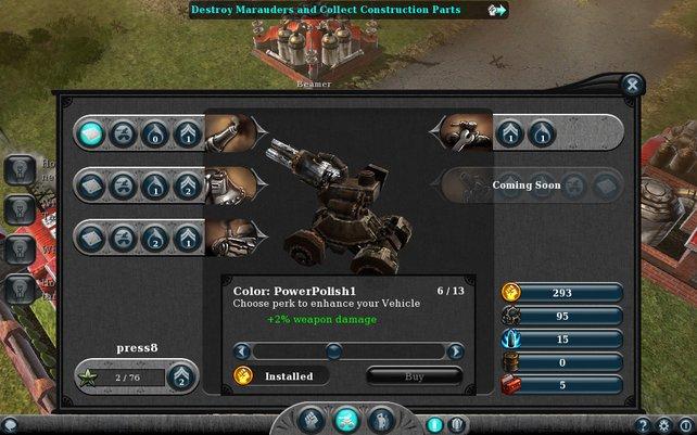 Nur mit genug Gold und Rohstoffen verbessert ihr Feuerkraft, Beweglichkeit und Panzerung.