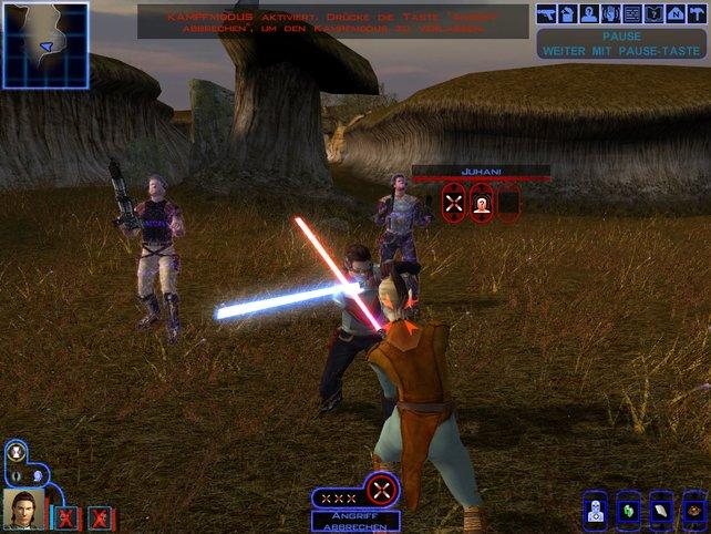 Ihr könnt die Kämpfe in Knights of the Old Republic pausieren, um eure nächsten Angriffe strategisch zu planen.