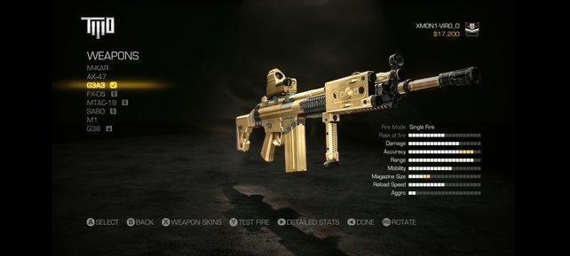 Wer seine Waffe gerne in Gold hätte, kann diese im Laden so bestellen.