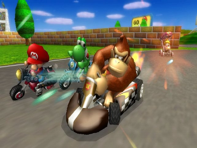 In Mario Kart Wii fahrt ihr auch Motorrad.
