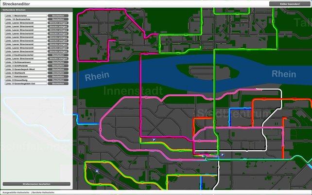 Im Editor entwerft ihr eigene Linien durch die öde Stadt.