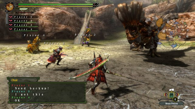 Gemeinsam macht ihr Jagd auf riesige Ungetüme - das typische Gefühl von Monster Hunter.