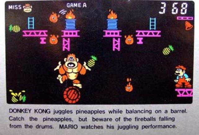 Mario scheint einen Jonglierfimmel zu haben. Lässt er hier noch Donkey ran, versucht er sich 1991 in Mario the Juggler selbst daran.