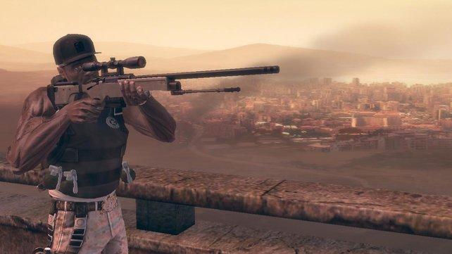 """Auch mit der Sniper ist """"Fiddy"""" manchmal zugange."""