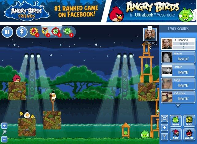 Die Facebook-Version von Angry Birds zeigt euch stets die Statistiken eurer Freunde an.
