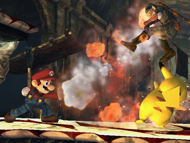 In Super Smash Bros. beharken sich vier Spieler mit bekannten Charakteren.