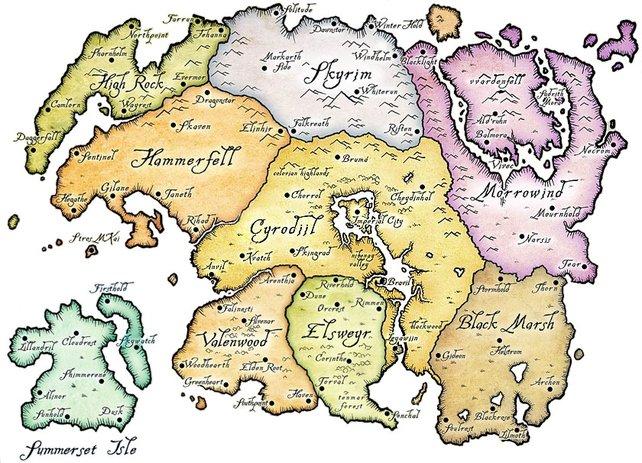 Die Welt von Skyrim liegt im kalten Norden Tamriels.