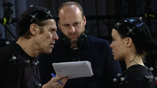 Die Schauspieler Ellen Page, Willem Dafoe und Chef-Entwickler David Cage bei der Aufnahme.