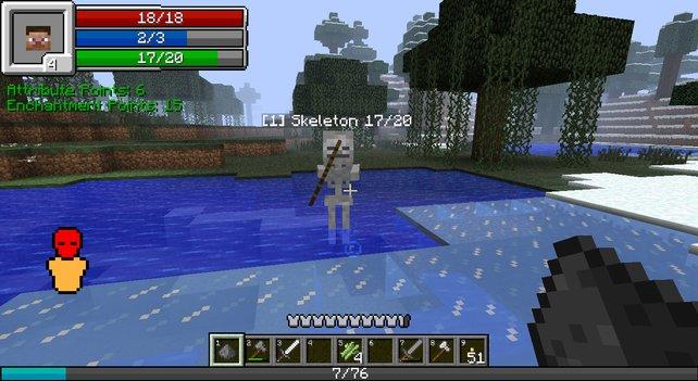 Mit dieser Mod erinnert die Benutzeroberfläche von Minecraft an die von Rollenspielen.