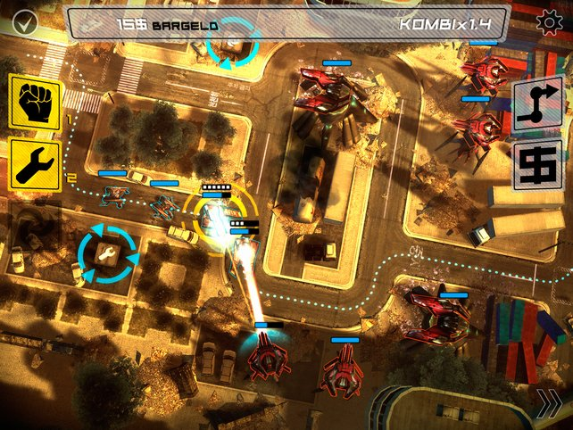 Turmangriff statt Turmverteidigung: Mit eurem Fahrzeugtrupp nehmt ihr Geschütze unter Beschuss.