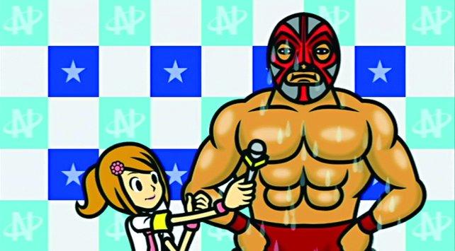 Hier seid ihr Wrestler und sollt im Takt der Musik Fragen beantworten oder posieren.