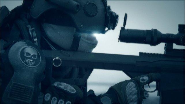 Ein Ghost mit seinem High-Tech-Scharfschützengewehr.