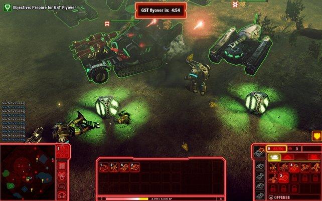 Die kleinen grünen Kugeln verbessern die Fähigkeiten der Einheit, die sie aufsammelt.