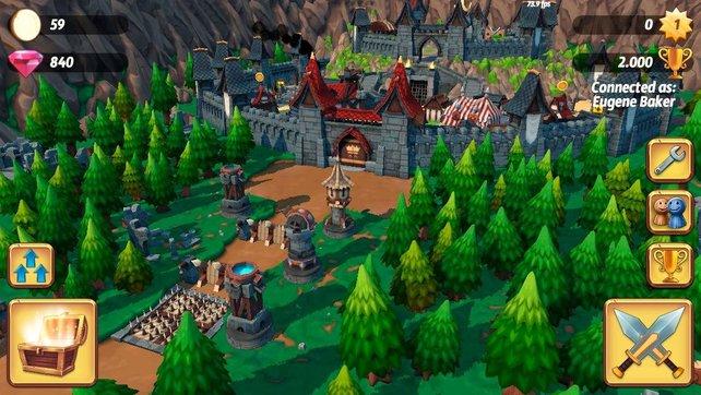 Innerhalb festgesetzter Grenzen baut ihr eure Burg und dessen Verteidigungsanlagen auf.