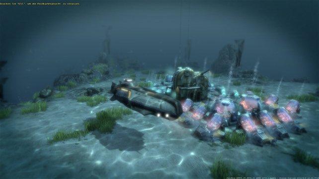 """Das Transport-U-Boot Typ """"Sisyphos"""" legt mit einer Ladung Korallenbiomasse ab."""