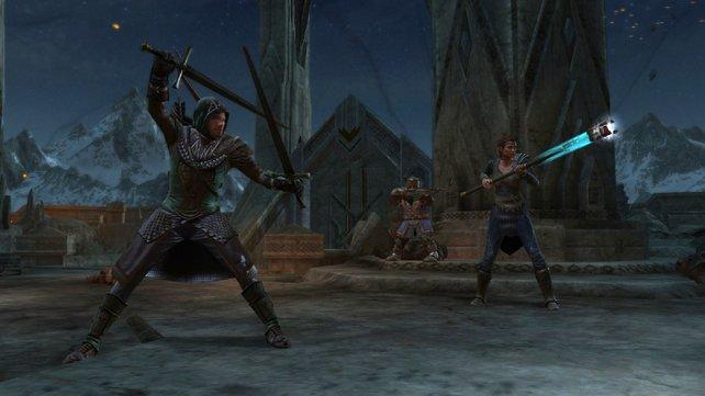 Einen der drei unbekannten Herr der Ringe-Charaktere spielt ihr - wahlweise könnt ihr nach jedem Level wechseln.