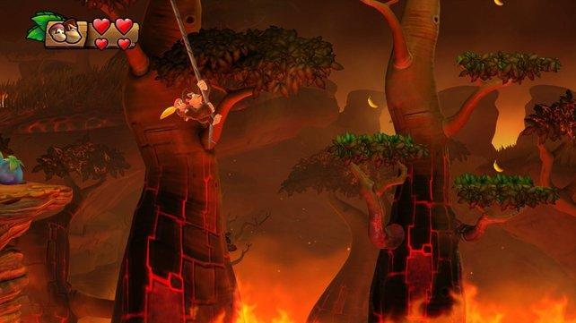 Per Seil über die heiße Lava: In Donkey Kong Country - Tropical Freeze unterscheiden sich die sechs Inselwelten deutlich voneinander.