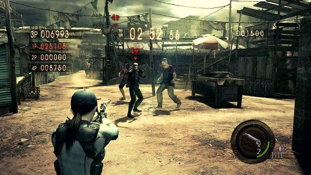 Kämpft euch in Resident Evil 5 zu zweit durch die kooperative Kampagne auf geteiltem Bildschirm.