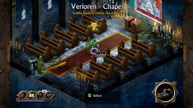 Selbst in der Kapelle lauert ein Goblin! (Screenshot Xbox360)