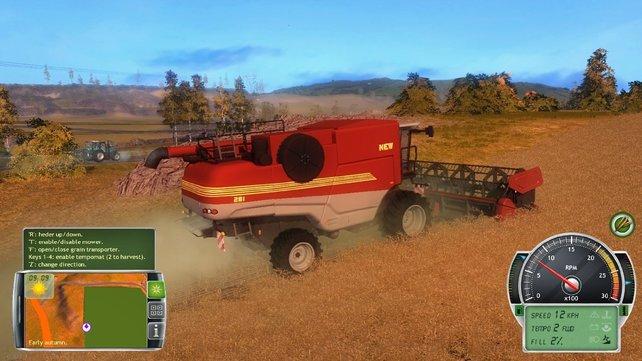 Mit dem Mähdrescher geht es dem Getreide an den Kragen.