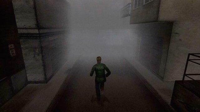 Der Nebel dient der Atmosphäre, baut sich aber als sichtlich erkennbare Wand auf.