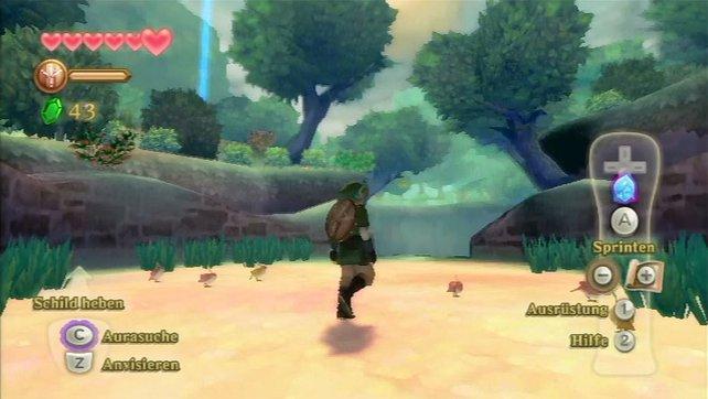 Auf der Karte setzt ihr Wegpunkte, die im Spiel als blaue Säulen sichtbar sind.