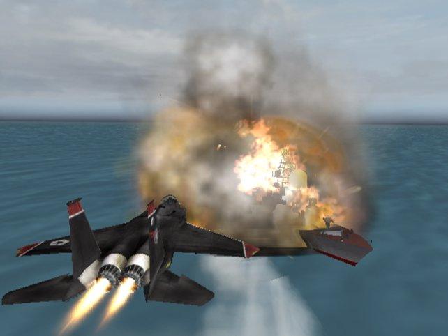 Checkpoint ... äh Fritz! Durch Explosionen zu fliegen fügt eurem Flugzeug keinen Schaden zu.