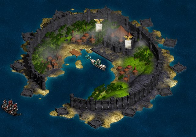 Ein sicherer Hafen für euer Piratenschiff, bevor es in neue Seeschlachten geht.