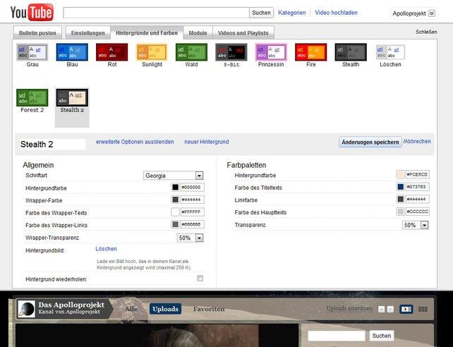 Gestaltet euren eigenen Youtube-Kanal mit Farben und Schriften.