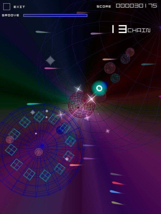 Groove Coaster eröffnet ein farbenfrohes Spektakel auf dem Bildschirm.