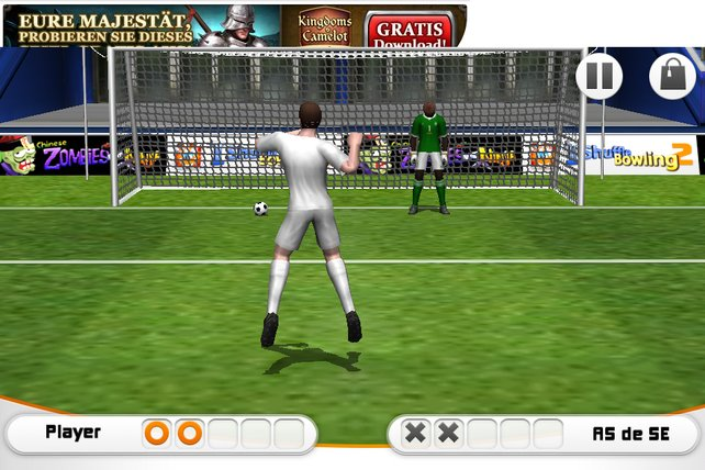Penalty Soccer inszeniert Elfmeterschießen als Glücksspiel.