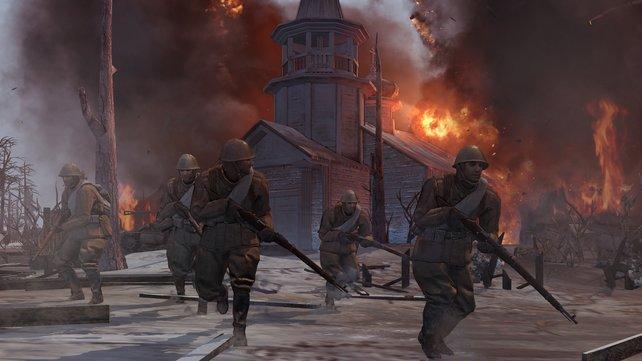 Fußsoldaten verschanzen sich in Gebäuden und nehmen Basen ein.