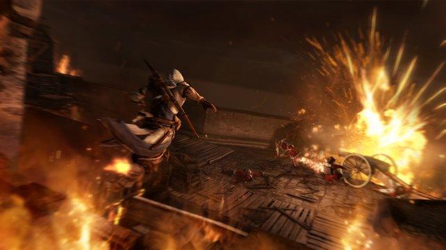 Todesmutig springt Connor auch durch dieses feurige Inferno.