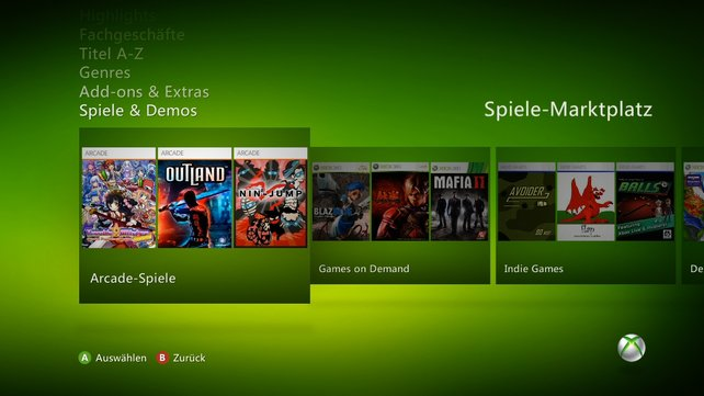 Xbox Live überzeugt mit einem breiten Angebot von Download-Spielen. Es gibt sogar Independent-Spiele.