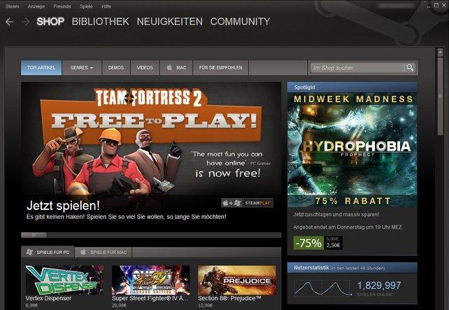 Steam überzeugt mit großem Angebot, Preisaktionen und Community-Funktionen.