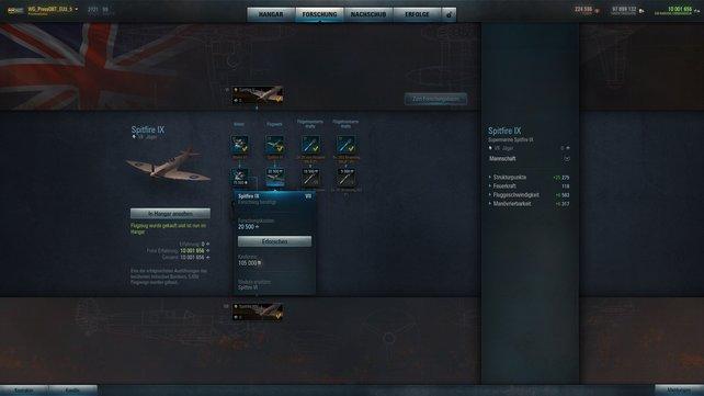 """Dank dem neuen Flugwerk gewinnt die """"Spitfire"""" an Strukturpunkten, Geschwindigkeit und Manövrierbarkeit dazu."""