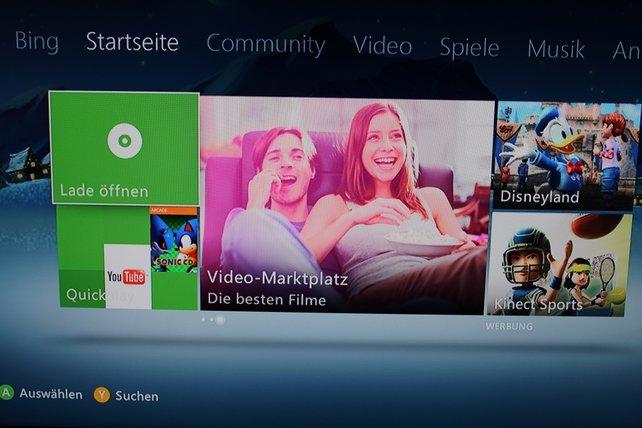 Die aktuelle Nutzeroberfläche der Xbox 360 - Kinect über alles?